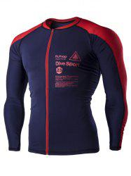 Color Block Letters Print Long Sleeves Cycling Jersey For Men -