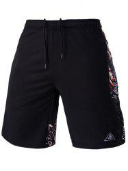 Mesh Design Ethnic Print Lace-Up Straight Leg Sports Shorts For Men - BLACK