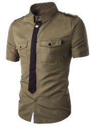 Fake Necktie Emblem Pockets Embellished Shorts Sleeves Shirt For Men