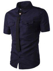 Fake Necktie Emblem Pockets Embellished Shorts Sleeves Shirt For Men - CADETBLUE