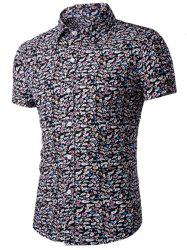 Casual Shirt Collar Fitted Floral Shirt For Men -