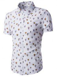 Fire Balloon Printing Fitted Shirt Collar Short Sleeves Shirt For Men - WHITE 2XL