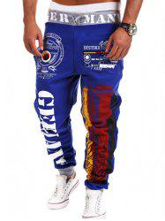 Loose Fit Stylish Lace-Up Splash-Ink Letters Print Beam Feet Polyester Sweatpants For Men - BLUE M