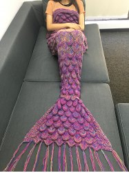 Fashion Knitting Raised Fish Scale and Tassel Design Mermaid Shape Sofa Blanket