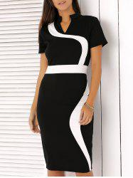 Flowing Line Design Hit Color Dress