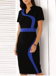 Flowing Line Design Hit Color Dress - BLACK AND BLUE