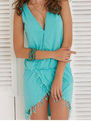 Chic Plunging Neck Sleeveless Asymmetrical Women's Dress - LAKE BLUE