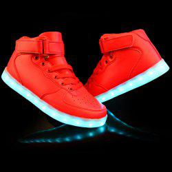 Stylish Tie Up and Lights Up Led Luminous Design Casual Shoes For Men - RED