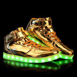 Stylish Tie Up and Lights Up Led Luminous Design Casual Shoes For Men - GOLDEN