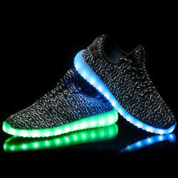 Fashion Color Block et Lights Up design Led Luminous Souliers simple d'homme - Noir