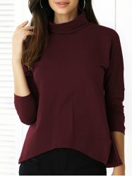 Pure Color Irregular Hem Long Sleeve Tee -