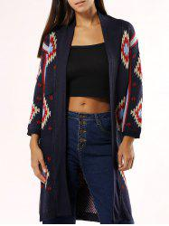 Stylish Collarless Geometric Cardigan For Women - DEEP BLUE