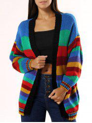 Colorized Striped Loose Cardigan For Women -