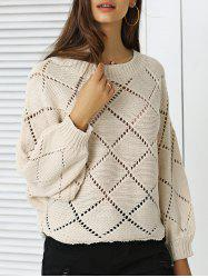 Stylish Batwing Sleeve Argyle Sweater For Women