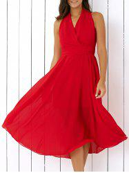 Graceful Pure Color Wrap Dress For Women - RED