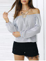 Simple Puff Sleeve Striped Blouse For Women -
