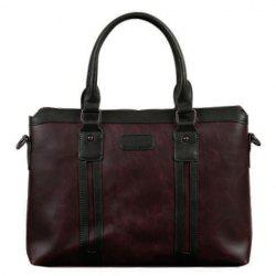 Fashion Color Block and Zip Design Briefcase For Men
