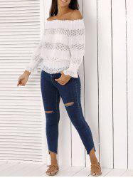 Fashion Off The Shoulder Peplum Top and Distressed Skinny Jeans - DENIM BLUE