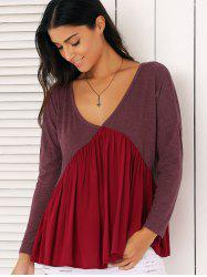 Sweet Long Sleeve Plunge Neck Pleated Asymmetric Swing Blouse