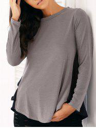Casual Long Sleeve Chiffon Spliced Flounced Blouse - GRAY XL