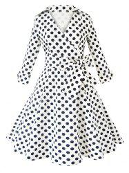 Stylish V Neck Polka Dot Long Sleeve Pleated Dress
