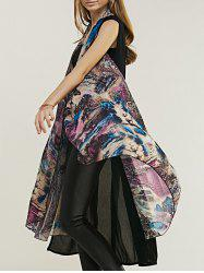 Trendy Women's Tie-Dyed Spliced Long Vest