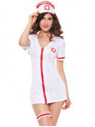 Chic Zippered Hit Color Women's Nurse Cosplay Costume - WHITE