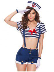 Trendy Striped Bowknot Embellished Women's Cosplay Suit