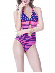 Charming Halter Polka Dot Striped Backless Women's Swimwear -