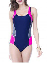 Stylish Color Block Splicing Cut Out Women's Swimwear - ROSE RED 2XL