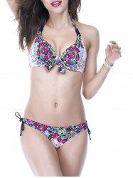 Chic Halter Floral Print Push Up Women's Bikini Set -