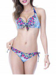 Chic Halter Floral Print Push Up Women's Bikini Set