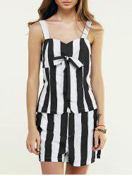 Sweetheart Neck Buttoned Tank Top + Striped Shorts -