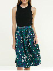 Retro Tiny Floral Printed A Line Skirt -