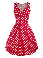 Vintage Sweetheart Neck Polka Dot Swing Dress