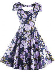 Vintage Cut Out Floral Swing Dress