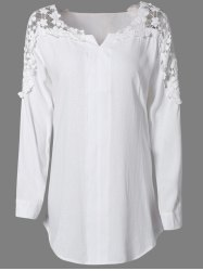 Plus Size Lace Trim Curved Hem Blouse - WHITE