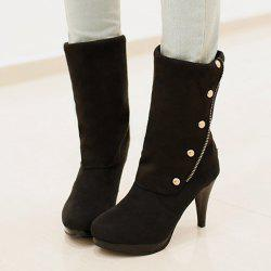 Stylish Rivet and Flock Design Mid-Calf Boots For Women - BLACK