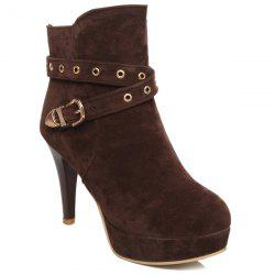 Trendy Eyelet and Buckle Design Ankle Boots For Women