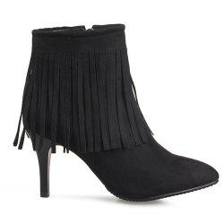 Trendy Fringe and Pointed Toe Design Ankle Boots For Women -