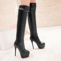 Platform Over The Knee High Heel Boots - BLACK