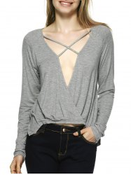 Novelty Plunging Neck Lace-Up Blouse - GRAY XL