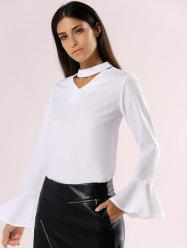 Elegant Cut Out Choke Collar Bell Sleeve Pure Color Chiffon Blouse