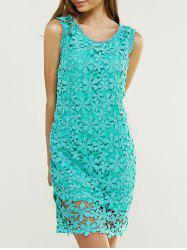 Elegant Scoop Neck Floral Lace Dress - GREEN M