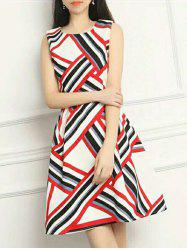 Striped Hit Color Sleeveless Dress -