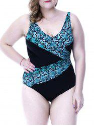 Chic Plus Size Snakeskin Print Stretchy Women's Swimwear -