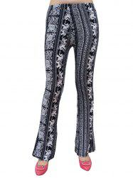 Elephant Patterned Boot Cut Pants - WHITE AND BLACK