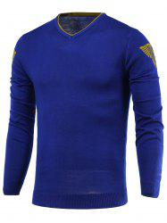 V-Neck Badge Pattern Long Sleeve Sweater - BLUE