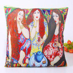 Vivid Oil Painting Three Long Hair Beauty Pattern Pillow Case