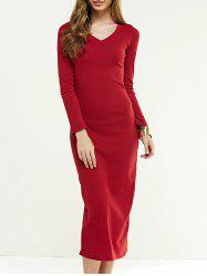 Long Sleeve Longline Jumper Dress - WINE RED